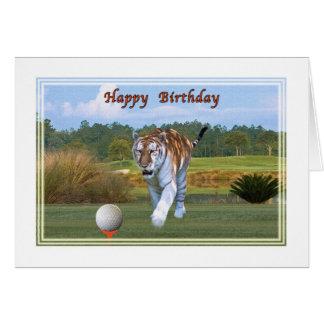 Tigre sur la carte d anniversaire de terrain de go