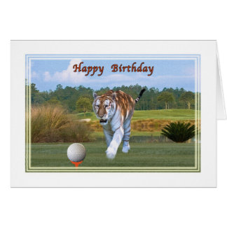 Tigre sur la carte d'anniversaire de terrain de