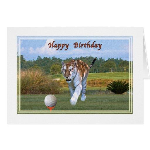 Tigre sur la carte d'anniversaire de terrain de go
