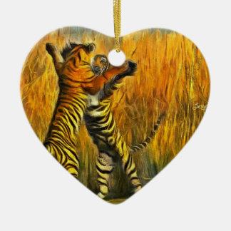Tigres de danse ornement cœur en céramique