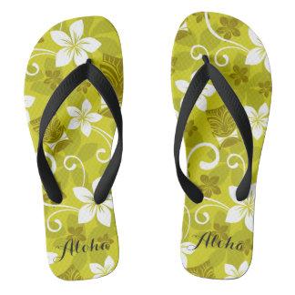 Tiki hawaïen et secousses florales tongs