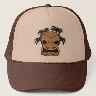 Tiki mauvais découpant le casquette