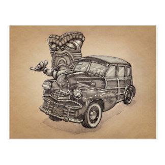 Tiki Woodie Carte Postale
