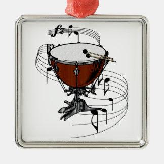 Timbales (tambour de bouilloire) ornement carré argenté