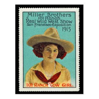Timbre #3 d'affiche de cow-girl de 101 ranchs, carte postale