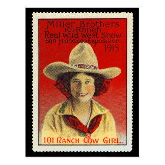 Timbre #4 d'affiche de cow-girl de 101 ranchs, cartes postales