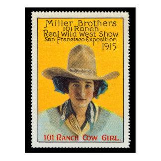 Timbre d'affiche de cow-girl de 101 ranchs, #1, carte postale