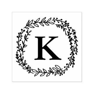 Timbre de monogramme de guirlande de laurier tampon auto-encreur