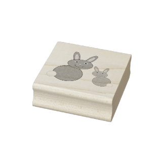 Timbre en bois d'art de lapins de jour de mères