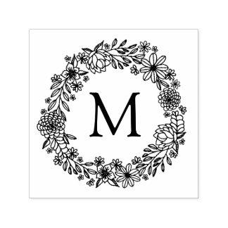 Timbre floral de monogramme tampon auto-encreur