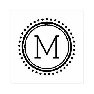 Timbre pointillé de monogramme de famille de