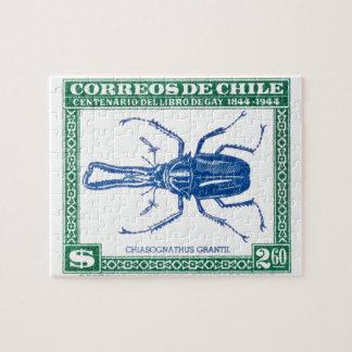Timbre-poste 1948 de scarabée de mâle du Chili Puzzle