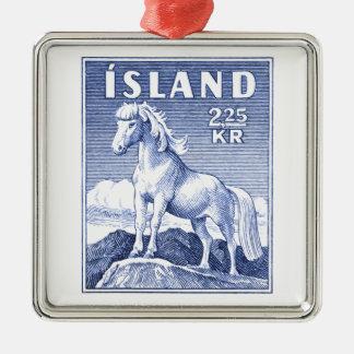 Timbre-poste de cheval de 1958 islandais ornement carré argenté