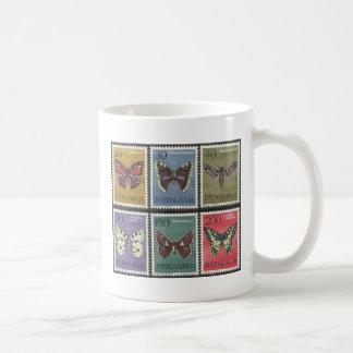 Timbres-poste de papillon mug