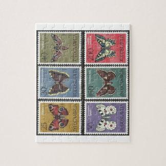 Timbres-poste de papillon puzzle