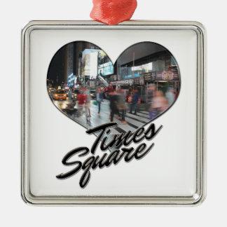 Times Square de souvenir d'horizon de NYC New York Ornement Carré Argenté