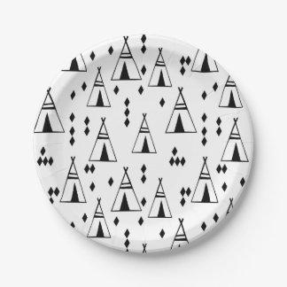 Tipi/sud-ouest blanc /Andrea Lauren Teepee de noir Assiettes En Papier