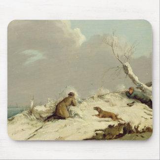Tir de canard en hiver (huile sur la toile) tapis de souris