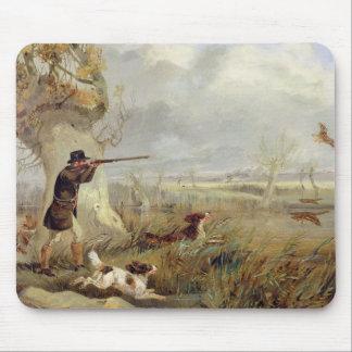 Tir de canard (huile sur la toile) tapis de souris