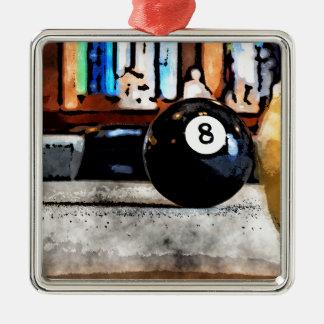 Tir pour la boule huit ornement carré argenté