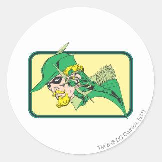 Tir vert de tête de flèche sticker rond