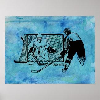 Tiré sur le croquis net d'hockey sur l'aquarelle poster
