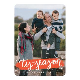Tis le carte photo de vacances de course de brosse carton d'invitation  12,7 cm x 17,78 cm