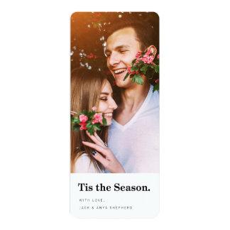 Tis le carte photo moderne de vacances de saison carton d'invitation  10,16 cm x 23,49 cm