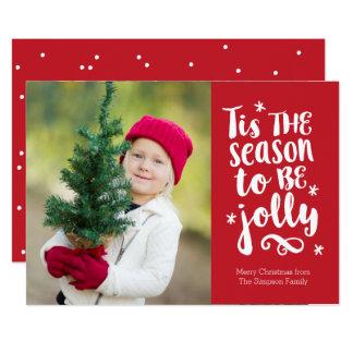 'Tis le carte photo rouge de vacances de saison Carton D'invitation 12,7 Cm X 17,78 Cm