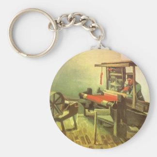 Tisserand faisant face à la roue à gauche de porte-clé rond