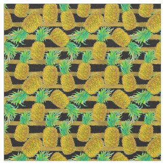 Tissu Ananas d'or sur des rayures