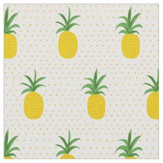 Tissu Ananas tropicaux d'or