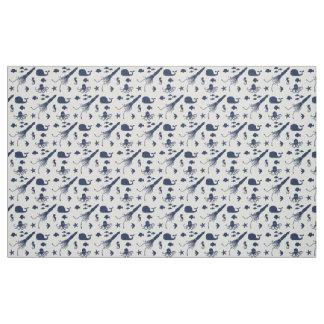 Tissu animal de motif d'océan de bleu marine