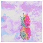 Tissu Aquarelle tropicale d'ananas hawaïen au néon