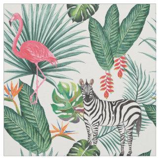 Tissu Aquarelle tropicale de feuille de zèbre moderne de