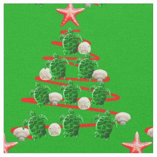 Tissu Arbre de Noël de tortues de mer verte