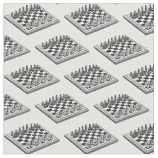 Tissu Art de cru d'échiquier et de pièces d'échecs