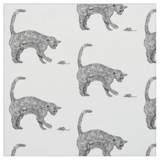 Tissu Art de griffonnage de chat et de souris