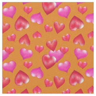 Tissu Assez coeurs peints par rose sur l'or | Valentine