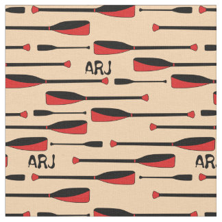 Tissu Avirons d'aviron de monogramme rouges