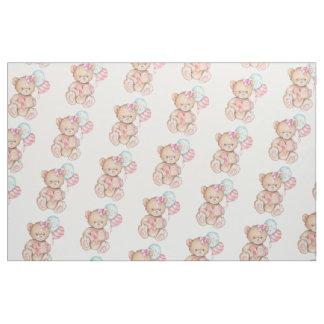 Tissu Ballons et bébé roses et bleus d'ours de nounours