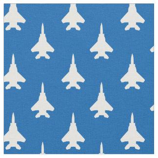 Tissu Blanc sur le motif bleu d'avion de chasse d'Eagle