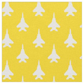Tissu Blanc sur le motif jaune d'avion de chasse d'Eagle