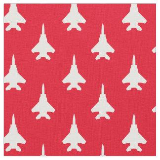 Tissu Blanc sur le motif rouge d'avion de chasse d'Eagle