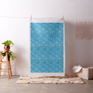 Tissu bleu de Sunprints de Ginkgos et de fleurs
