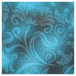 Tissu Bleu de turquoise floral de miroitement de damassé