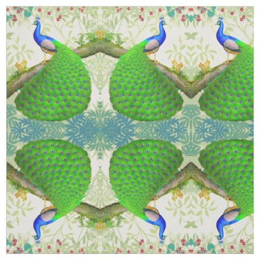 tissu bleu indien exotique de paon zazzle. Black Bedroom Furniture Sets. Home Design Ideas
