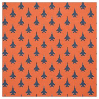 Tissu Bleu marine sur le motif orange d'avion de chasse