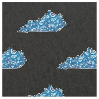 Tissu Bleu Paisley de silhouette d'état du Kentucky