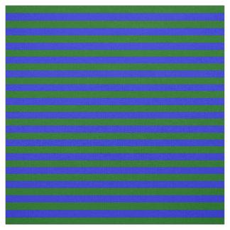 Tissu bleu royal, pied vert d'île, rayures
